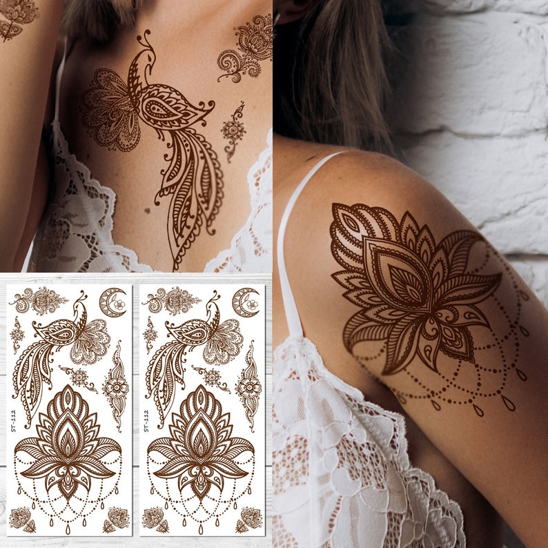 ffe2ee8b1b80f Supperb Temporary Tattoos Inspired Henna Peacock Moon | Etsy