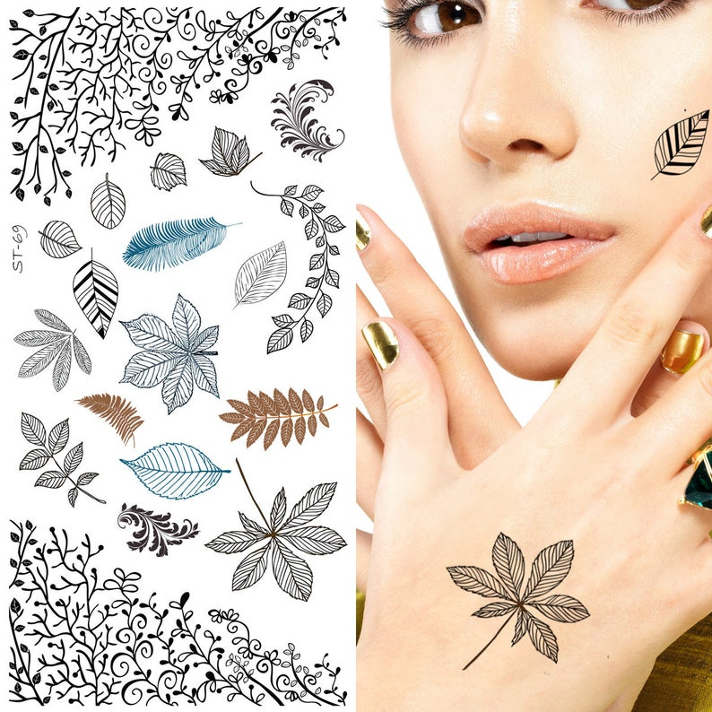 45a9e6526f5c9 Supperb Mix Nature Floral Spirit Temporary Tattoos / 6-pack   Etsy