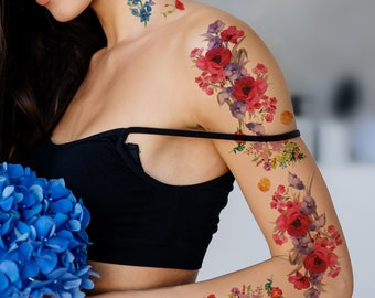 Supperb Large Temporary Tattoos - Watercolor Bouquet of Wildflowers (Set of 2)