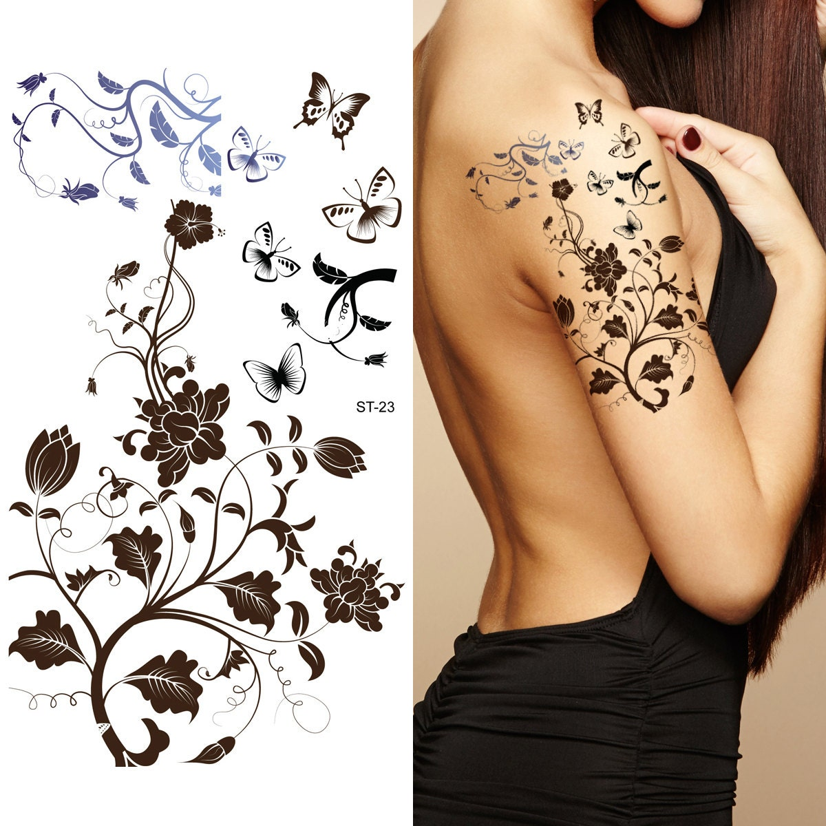supperb tempor re tattoos schwarz stammes blumen tattoos etsy. Black Bedroom Furniture Sets. Home Design Ideas
