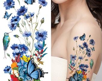 Supperb Temporary Tattoos - Hand drawn Watercolor Painting Bouquet of Summer Flowers butterflies hummingbird (ST-117)