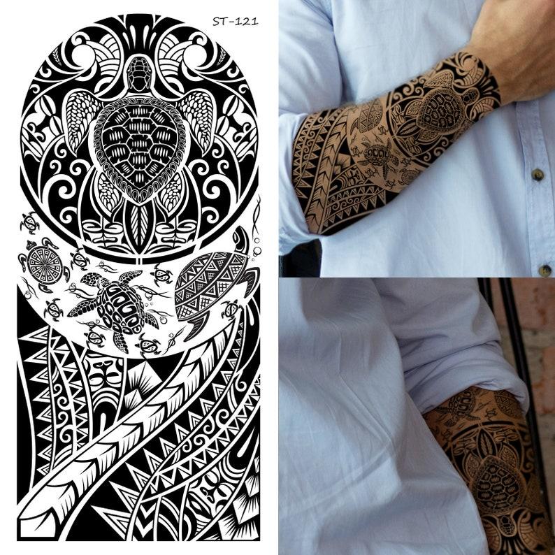 15. Tribal Temporary Turtle Tattoos (Set of 2)