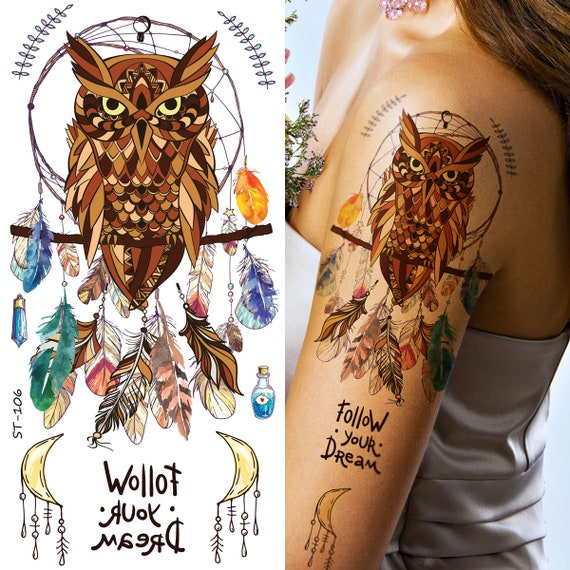 Supperb Temporäre Tattoos Eule Traumfänger Feder Traumfänger Etsy