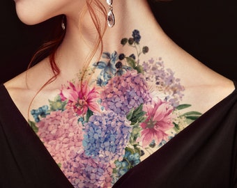 Supperb Large Temporary Tattoos - Watercolor Painting Bouquet of Summer Hydrangeas Flowers Wildflowers