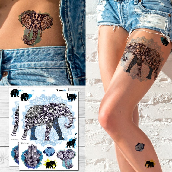 Supperb Temporary Tattoos Mandala Elephant Bohemian Yoga Etsy