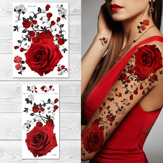 Supperb Temporary Tattoos Red Roses Tattoo Sleeve Large Etsy