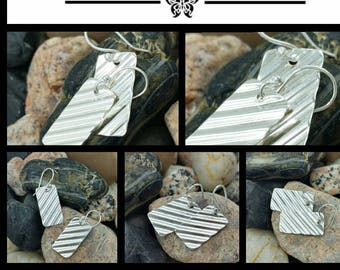 Handcrafted Sterling Silver & Fine Silver Textured Earrings