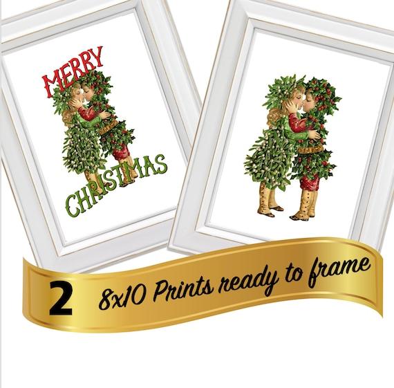 A Christmas Kiss 2.Christmas Kiss 2 Prints 8x10 Ready To Frame Mistletoe Merry Christmas Digital Printable Instant Download