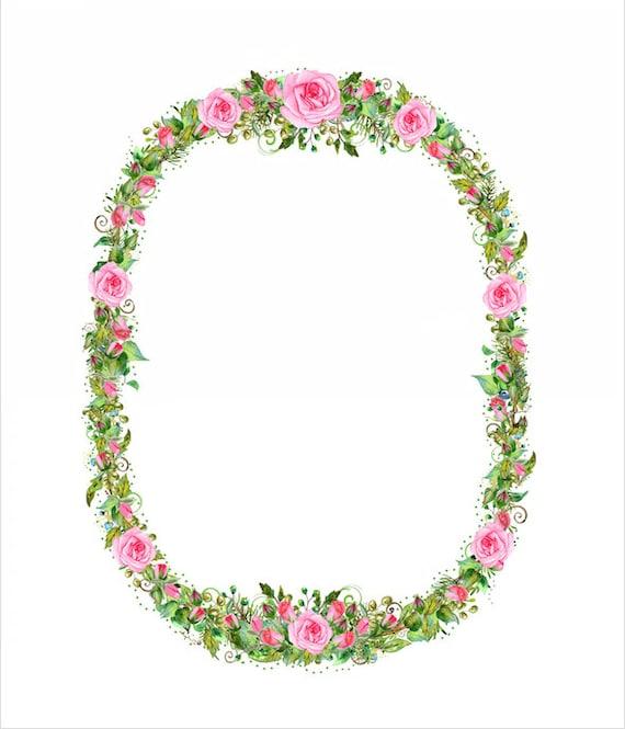 Descargar rosa corona marco mano pintado acuarela Shabby Chic   Etsy