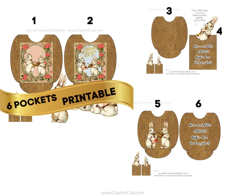 6 RABBIT POCKETS PRINTABLE Pages Craft Kit 2 White Musical Bunny Rabbits 2 Junk Journal pages  6 seals Happy Easter Craft Kids Download
