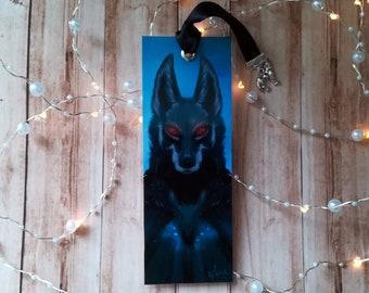 Hand made bookmark Amarok - illustrated, laminated, Wolf