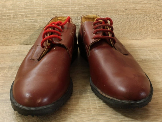 Vintage 60s Mens Red Leather Shoes, Size EU 42, Si