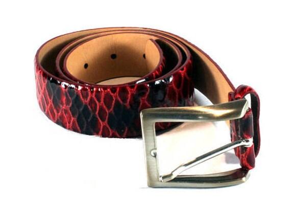 Vintage Red Leather Belt, Leather Belt, Belts, Wom