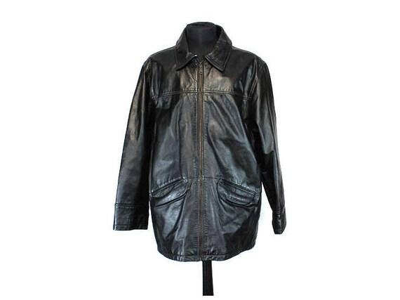 Vintage Leather Jacket, Coat, Black Leather Jacket