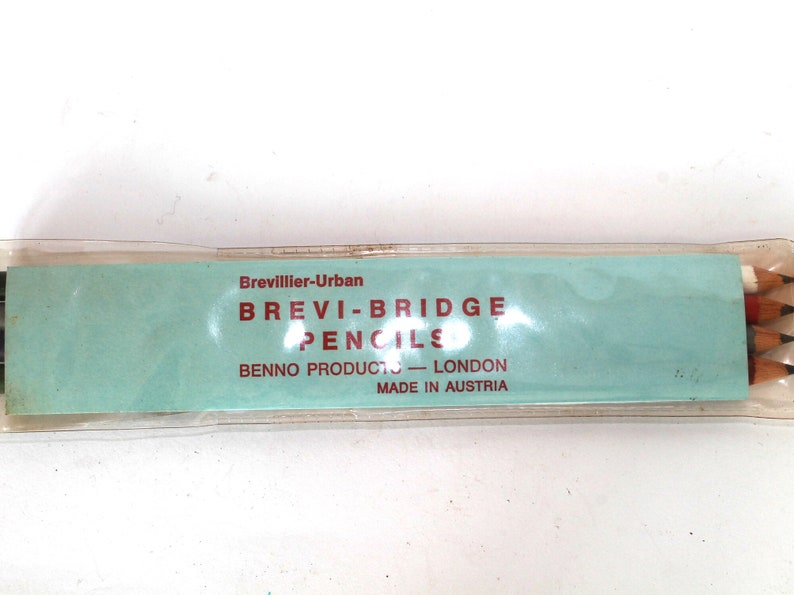 Retro Pencils Brevillier Products London Made in Austria Vintage Brevi-Bridge Pencils Sealed Box Benno Old 4 Colors Pencils Urban