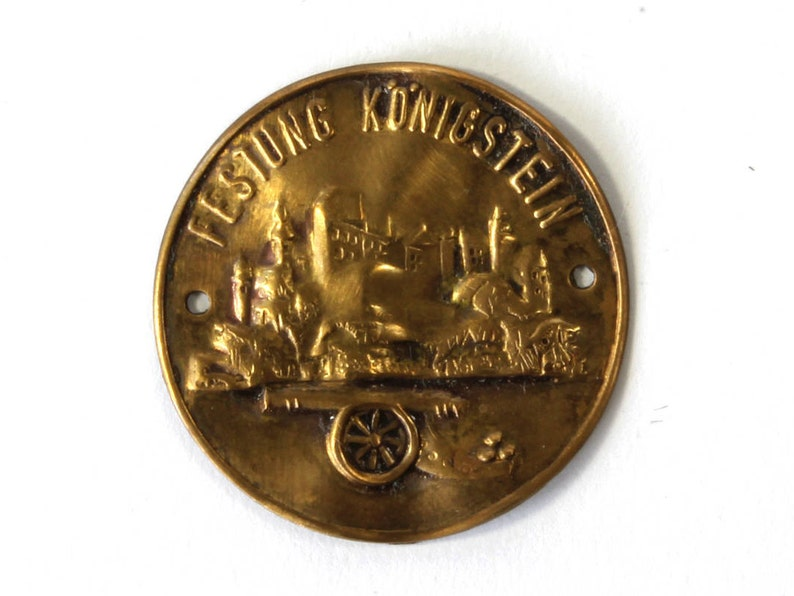 Germany S8 Symbol German Brass Medal Festung K\u00f6nigstein Fortress Badge Festung K\u00f6nigstein Badge Vintage Bagde Sewing Castle Badge