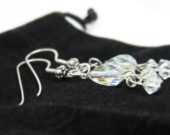 Sterling Silver Authentic Swarovski Crystal Chandelier Dangle Drop Earrings