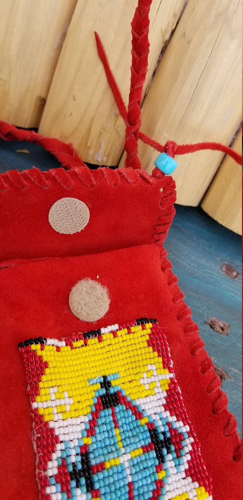Handmade Suede Beaded pouch purse