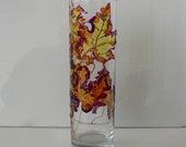 Hand painted glass vase quot Autumn leaves quot , Glass art, Stained Glass effect