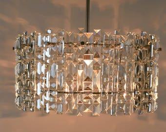 Vintage chandelier - Chandelier lighting - Chandelier with a crystal glass pendants - Mid century chandelier