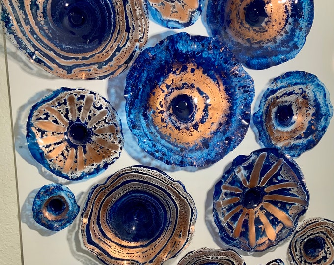 Featured listing image: Made to order Cobalt blue/copper large wall mount flower 13 up cycled plastic looks like glass/modern home decor mural art/window hanging