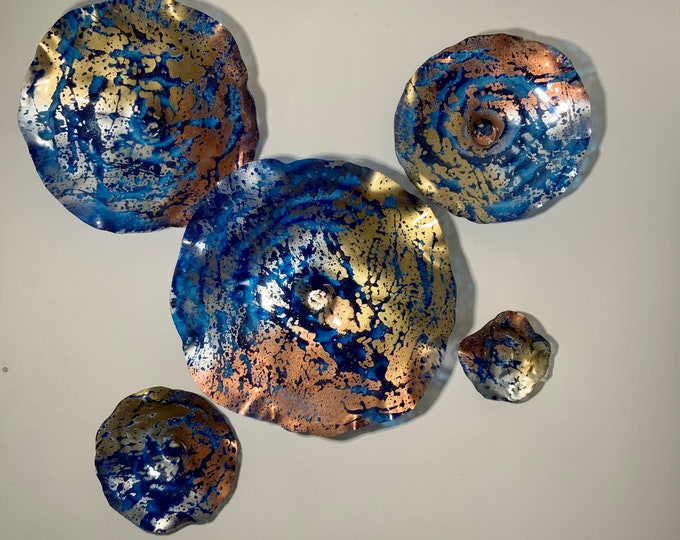 Featured listing image: Wall flower cobalt blue/copper/silver/gold recycled plastic looks like glass pick your size/quantity/window hanging/home decor/ patio art