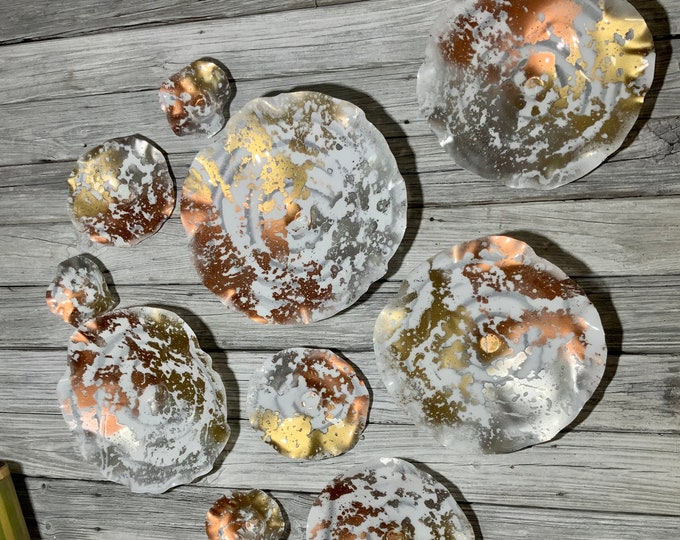 Featured listing image: Wall flower white/copper/silver/gold recycled plastic looks like glass pick your size/quantity/window hanging/hygge home decor/boho yard art