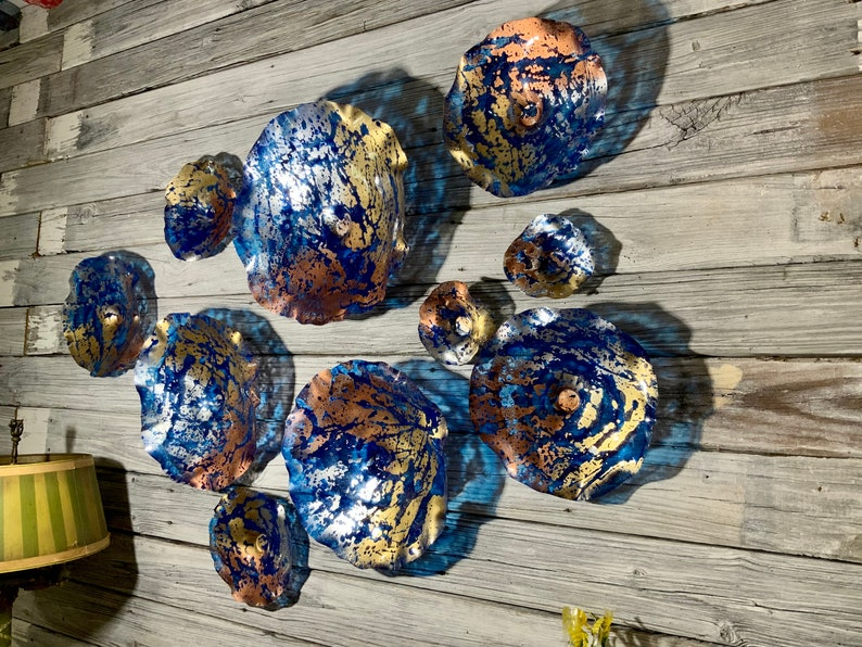 Made to order wall Flower 10 cobalt blue/gold/silver/copper image 0