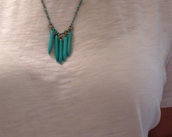 Turquoise and Gunmetal Necklace