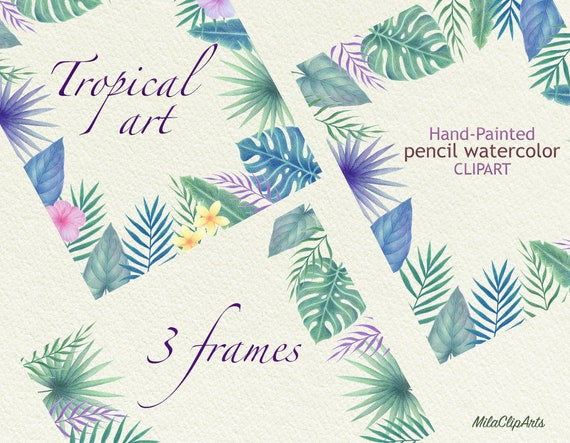 Tropical Frames Tropical Flowers Clipart Hawaii Clipart Etsy