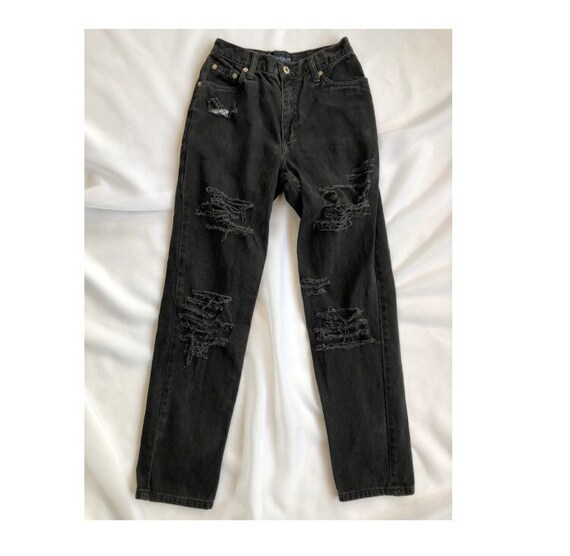 Vintage black ripped mom jeans size 4