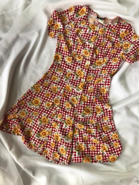 90s Floral romper vintage sunflower dress size lar