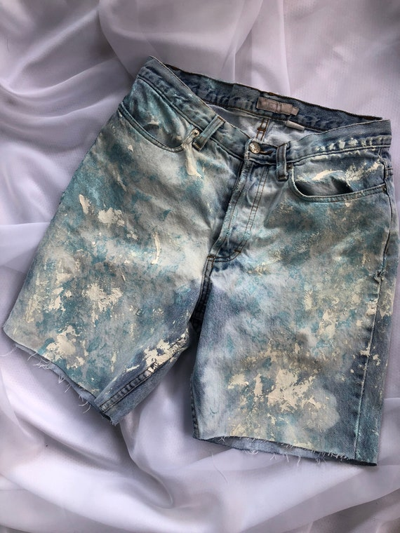High waisted jean shorts painted shorts paint spla