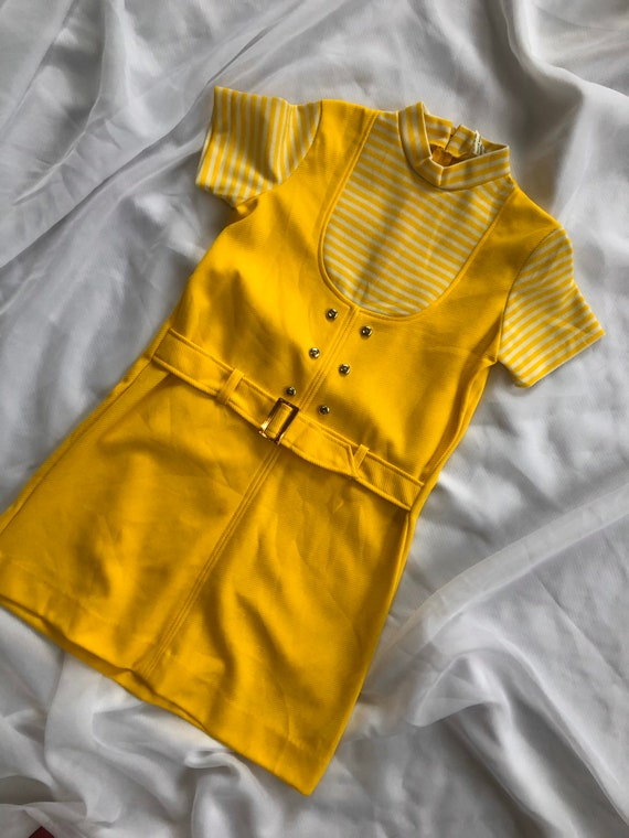 Vintage yellow 60s striped dress size small