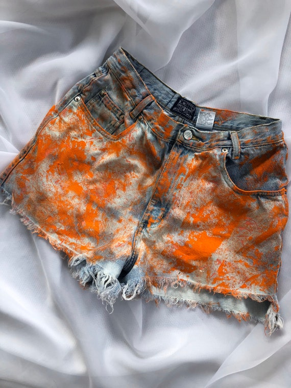 90s Ripped Jean Shorts Pain splatter Jean Shorts
