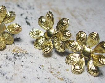 Brass Earrings - Flower  Earrings - Brass Studs - Sterling Silver Posts - Floral Earrings - Gift for Her