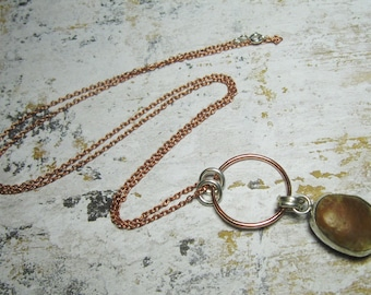 Beach Stone Necklace - Sterling Silver and Copper Necklace - Rustic Necklace - Gift for Her