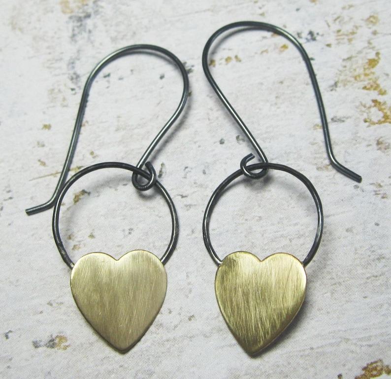 e019d39a3 Heart Earrings Mixed Metal Earrings Brass and Sterling | Etsy