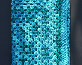 Crochet Blanket, Baby, Acrylic, Teal Variegated, Granny Square, Girl, Boy, Baby Shower Gift, Preemie, Newborn, Child, Ready to Ship