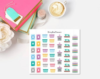 47 Laundry/Ironing Planner Stickers- ECLP-Happy Planner