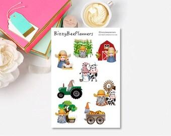 Farm Gnome Planner Stickers- Farm Stickers- Farm Themed Planner Stickers- Gnome Stickers