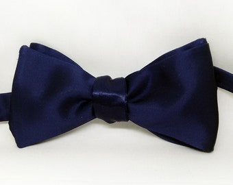Blue Satin Bow tie/ Mens bow tie/ Formal Bow tie/ Groomsmen Bow Tie/ Self Tie Bow Tie/Wedding Bow Tie/ Grooms Gift/Cocktail Bow tie
