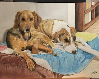 Personalized pet A3 portrait