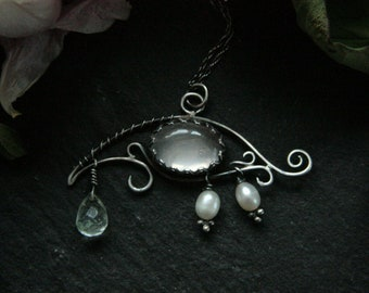 Sterling Silver Eye Necklace, Rose Quartz Necklace, Freshwater Pearl Necklace, Wire Wrapped Eye Pendant, Witch Necklace, Moss Agate, Horus