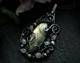 Leafy Labradorite Pendant with Moonstone, Green Labradorite Pendant, Rainbow Moonstone, Silver Leaves and Swirls, Artisan Jewelry