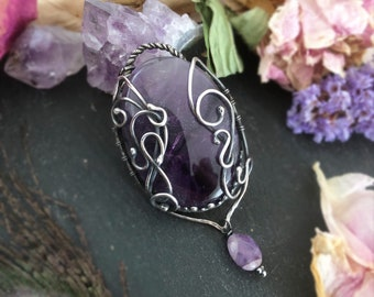 Large Amethyst Pendant, Elven, Gothic, Pagan Pendant, Unusual Pendant, Sterling Silver Pendant, OOAK, Ready to Ship