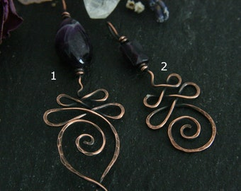 Antiqued Copper Unalome Pendant with Amethyst Gemstone