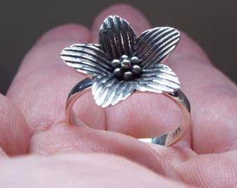 Clearance SALE**Sterling Silver Flower Shape Ring, Boho, Minimalist, Bohemian Size 9, SOLID 925 STERLING silver**Holiday Sale**
