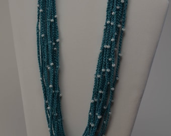 Teal Crochet Necklace with White Beads