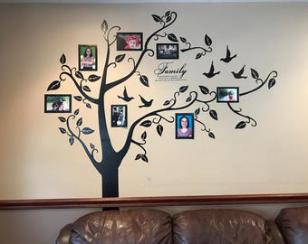 Wall Decal, Family Tree Wall Decal, Photo Frame Tree Decal , Family Tree  Wall Sticker, Living Room Wall Decals , Wall Graphic, Tree Decal